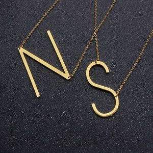 Jewelry - Letter Initial Necklace S Monogram Sideways Gold